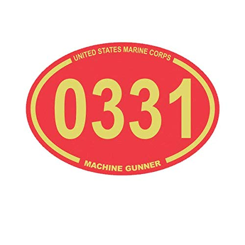 Magnet United States Marine Corps MOS 0331 Infantry Machine Gunner Red Oval Magnetic Vinyl 5