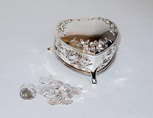 """Sliver Heart shape Wedding Arras Box with Unity Coins Arras de Boda 3.25"""" X 3.5"""" X (Arras Box)"""