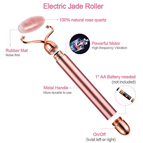 Electric Jade Roller for face and Gua Sha, 3-in-1 Rose Quartz Face & Eye Roller Kit for Face, Eye, Neck, Anti-Aging Facial Massger for Wrinkles, Fine Lines, Dark Circles and Puffy Eyes