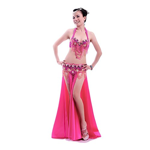 ROYAL SMEELA Women Belly Dance Costume Set Tassel Hot Pink Belly Dance Bra and Belt and Long Dance Dress Sexy Belly Dancing Outfit 3pcs, Medium Size
