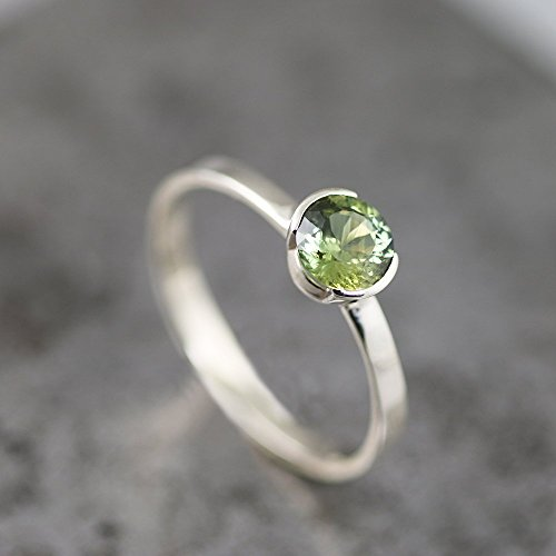 14k White Gold Green Sapphire - Portuguese Cut Green Sapphire Ring - Thin Delicate 14k White Gold Engagement Ring