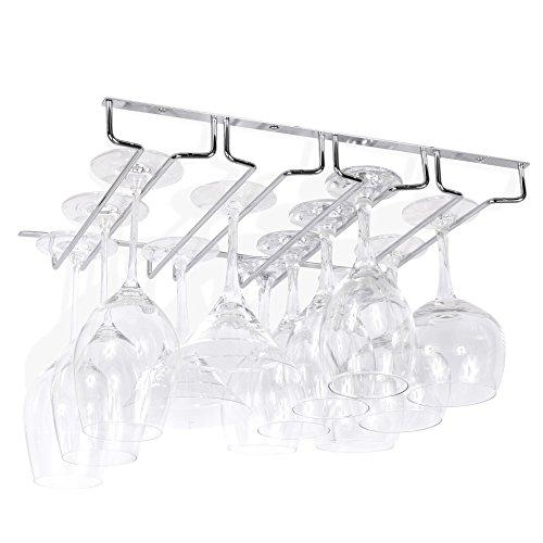 Wallniture Under Cabinet Stemware Wine Glass Holder Storage Rack 13.5 Inch Deep (Chrome) by Wallniture