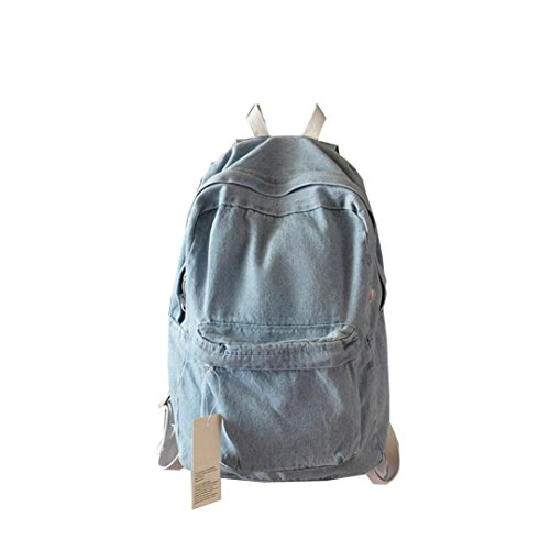 Gillberry  Unisex Denim Travel Backpack Bag School bag Rucksack Casual Retro Bag (Light Blue)