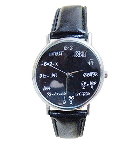 Reloj unisex fórmulas matemáticas física raízconstellation braga bitácoras vintage plateado y negro