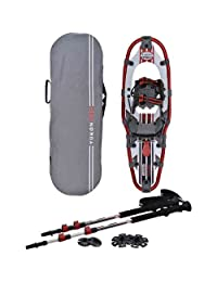 Yukon Charlies Pro II Mens Aluminum Snowshoe Kit (8 inches x 25 inches) - LIGHTWEIGHT PU Coated ALUMINUM FRAME, DURABLE and ERGONOMIC - INCLUDES 3 Piece Adjustable Trekking Poles and A Rugged Polyester Carry Bag