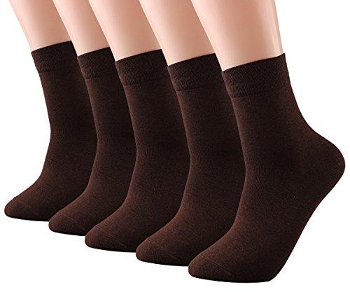 Ankle Brown Socks (CozyWow Men's Bamboo Fiber Business Crew Socks (5-Pack) 5 Brown)