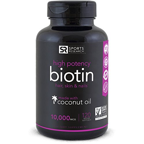 High Potency Biotin (10,000mcg) with Organic Coconut Oil; Supports Hair Growth, Glowing...