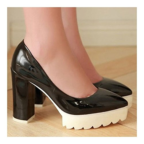 Thin Casual Heel Sole Shoes Thick Pointed 37 High black wAtqnHZ