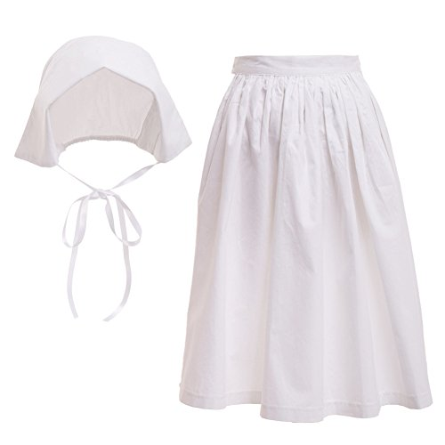 GRACEART Pilgrim Pioneer Colonial Girl Costume Accessories 100% Cotton Apron & Bonnet (US Size-14,Bonnet & (Girls Pioneer Girl Costumes)