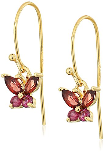 18k Yellow Gold Plated Sterling Silver Marquise Garnet 5x2.5mm and Round Rhodolite Butterfly Drop Wire Earrings