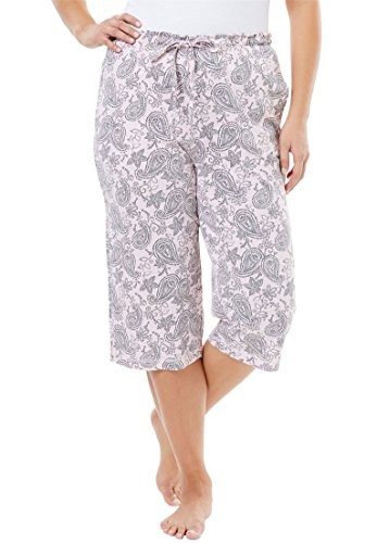 Dreams & Co. Women's Plus Size Knit Sleep Capri Pink Paisley,L (Dyed Capri Pants)