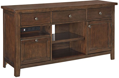 "Ashley Wassner H58446 60.13"" Large Credenza with 3 Drawers 2 Doors Open Cubbies Three-Outlet Power Strip Mango Veneers and Selected Solid Wood Construction in Dark Brown"