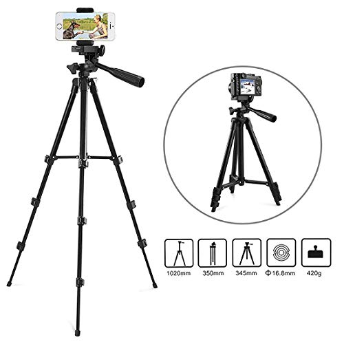 """Zetong Phone Tripod 42"""" Aluminum Lightweight Portable Camera Tripod for iPhone/Samsung/Smartphone/Action Camera/DSLR Camera with Phone Holder & Bluetooth Wireless Remote Shutter(Black)"""