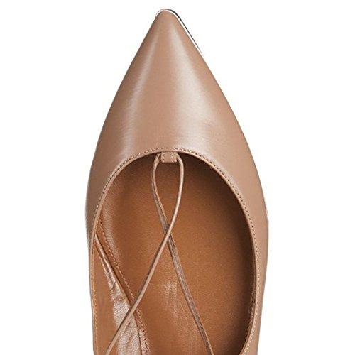 Vestito Donne Basse Mocassino Di Dimensioni Balletto Lace Nude Il Scarpe Pompe Up Signore Jushee Splendido Scarpe Punte Grandi Immaginano Per Toe AwH4aBqfx