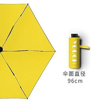 Xue-zhenghao La Mitad Sol Paraguas Plegable Paraguas Anti - Ultravioleta, Amarillo