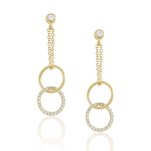 Diamond Dangle Earring with Circle, 14K Gold - Fine Jewelry by Juliette Collection