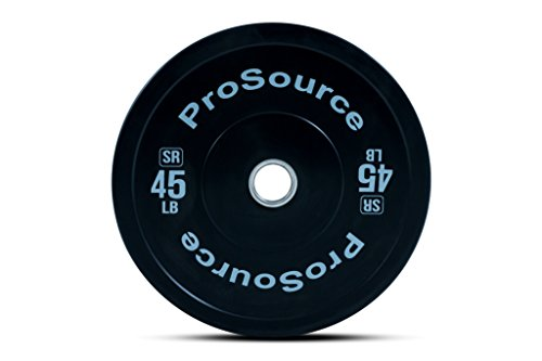 Prosource Fit Solid Rubber Bumper Plates (Sold Individually) with Steel Insert, 45 lb, for CrossFit, Power Lifting, Strength Training