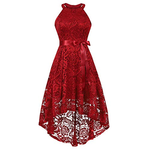 Women's Sleeveless Slim Halter Lace Dress Bridesmaid Party Cocktail Formal Dress, Dark Red, XS - Halter Stretch Evening Gown