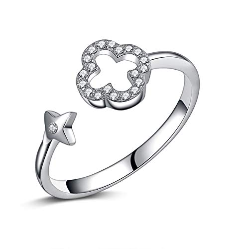 Mother's Day Valentine's Gift 925 Sterling Silver Four-Leaf Clover Ring Adjustable Rings for Women Tarnish Resistant Engagement Wedding Band Ring US Size 5-8 (Silver 925 Four Sterling)