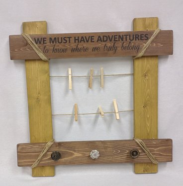 Heart of America Have Adventures Wood Picture Clip & Hook Wall Rack by Heart of America