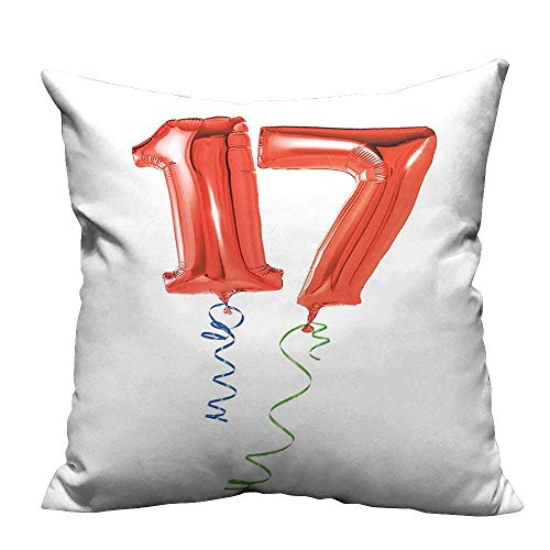YouXianHome Zippered Pillow Covers Sweet Seventeen Party Balloons with Curl Ending Image Red Green and Blue Decorative Couch(Double-Sided Printing) 26x26 inch