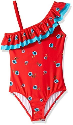 Kanu Surf Big Girls' Morgan Floral Ruffle One-Shoulder 1-Piece Swimsuit, Red, 8