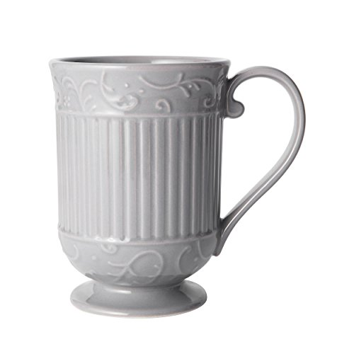 Mikasa Italian Countryside Accents Footed Coffee Mug, Scroll Grey ()