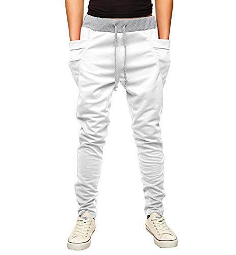 (OBT Boy's White Slim Casual Cotton Comfy Skinny Running Jogger Pants 12)