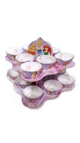 Disney Princess Birthday Party for 12 Guests Bundle- Five Items: One Large Centerpiece Snack Stand, One Set of 20 Disney Princess Decorated Luncheon Napkins, One Cupcake Combo Pack for 18 Cupcakes or Snacks, and Two Sets of 6 Disney Princess Mini Snack Pails