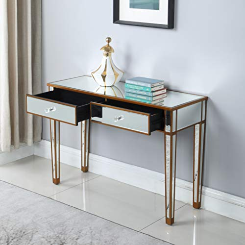 (Mirrored 2-Drawer Media Console Table, GA Home Makeup Table Desk Vanity for Women Home Office Writing Desk Smooth Matte Silver Finish with Faux Crystal Knobs)