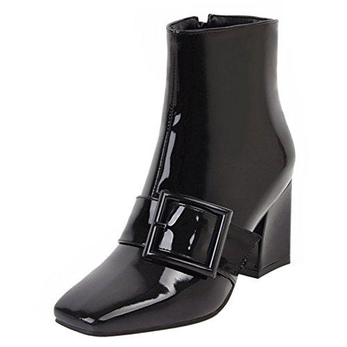 Black Heel with Ankle 13 Block Medium Fashion Boots Coolcept Women Side Zip Buckle qSRH77