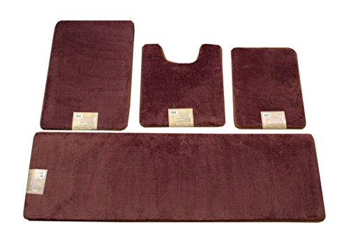 4 Piece Solid Color Ultra Plush Non-Slip Memory Foam Bathmats/ 6 color (Brown) (6 Piece Bathroom Rug Set)