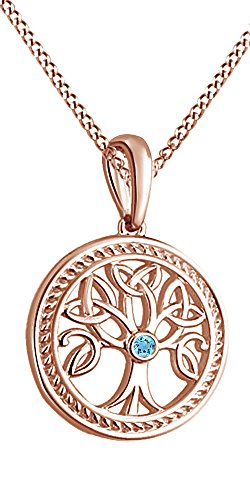 Tree of Life Pendant Necklace with December Birthstone Blue Topaz Gemstone 14k Rose Gold Over Sterling Silver