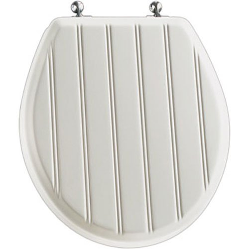 Mayfair Cottage Classic Sculptured Molded Wood Toilet Seat with STA-TITE Seat Fastening System & Chrome Hinges, Round, White, 29CPA 000