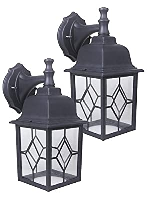 CORAMDEO, 2-Pack LED Wall Lantern, Wall Sconce 11W Replace 100W Traditional Lighting Fixtures, 1000 Lumen, Water-proof, ETL and Energy Star Certified