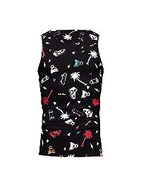 Fashion Holiday Tops for Men,Hawaiian Beach Sports Print O-Neck Sleeveless T Shirt