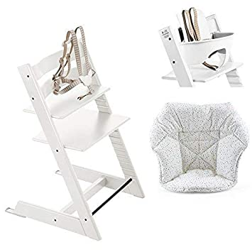 Stokke Tripp Trapp High Chair Baby Set White Mini Cushion Cloud Sprinkle