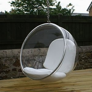 Beau FineMod 1122White Eero Aarnio Bubble Chair With White Seat Lounge, Large