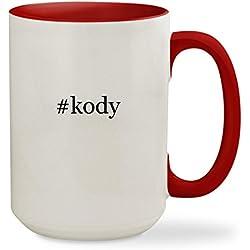 #kody - 15oz Hashtag Colored Inside & Handle Sturdy Ceramic Coffee Cup Mug, Red