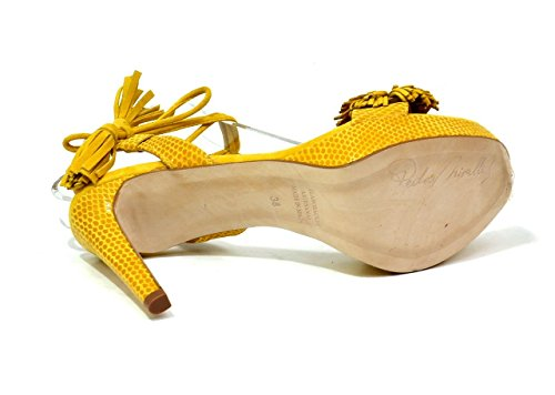 45 Mustard 9416 PEDRO Sandals Mostaza Strappy 37 Women's L Suede High MIRALLES EU Leather Heel Fringe qffgwPpS4