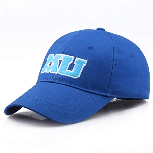 New Monster University Sulley Mike Baseball Caps MU Letters Unisex Pixar Movie Blue Hat Adjustable Hip Hop Cap ()