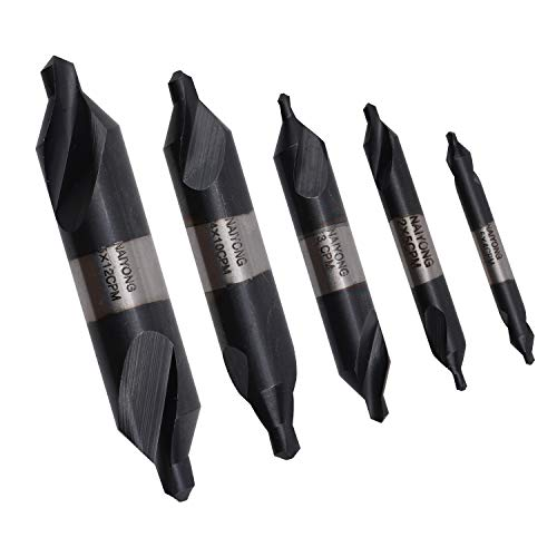 (Naiyong Tools 5 Lathe Mill Center Drill Countersink Bit Tooling Set, Made in Powder Metallurgy High Speed Steels for Metal, Stainless Steel, Copper, Aluminum and Wood, Cobalt Plated (CPM))