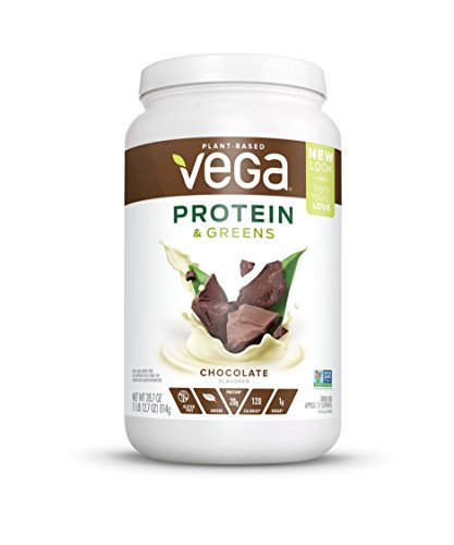 Vega Protein & Greens Chocolate (25 Servings, 28.7 Oz) - Plant Based Protein Powder, Keto-Friendly, Gluten Free,  Non Dairy, Vegan, Non Soy, Non GMO, Lactose Free (Best All In One Protein Powder)