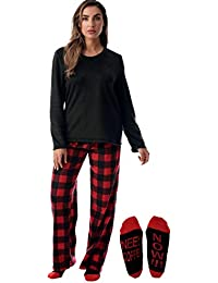 Plush Women's Pajama Pant Set with Matching Socks with Sayings