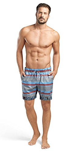 HANRO Men's Evan Woven Stripe Shorts 75514, Horizontal Stripe, XX-Large by HANRO