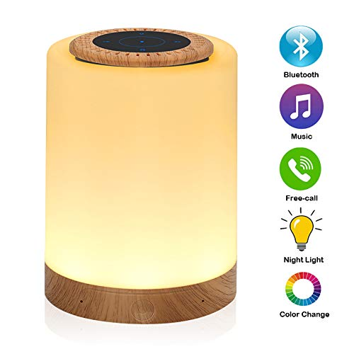 Caxmtu Color Night Light with Bluetooth Speaker Touch Dimmable Bedside Table Lamp Mood Lights Warm White Lighting RGB Colour, Rechargeable