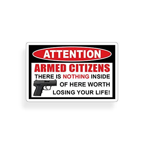 Armed Citizen Handgun Pistol Warning Decal Sticker Gun ()