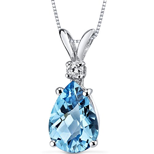 14 Karat White Gold Pear Shape 2.25 Carats Swiss Blue Topaz Diamond