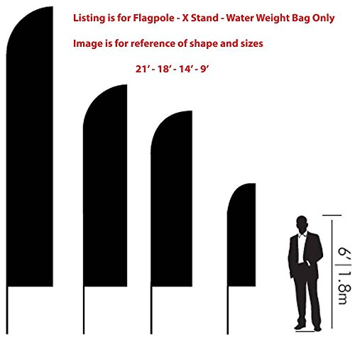 Flagpole and Mount for Advertising Swooper Feather Flags Flexible - Choose Size and Style (18' Wing - Stand) (Fiberglass Wings)