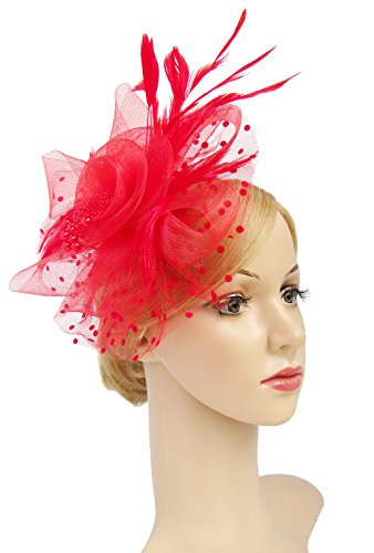 Flower Cocktail Tea Party Headwear Feather Fascinators Top Hat for Girls and Women(RED)